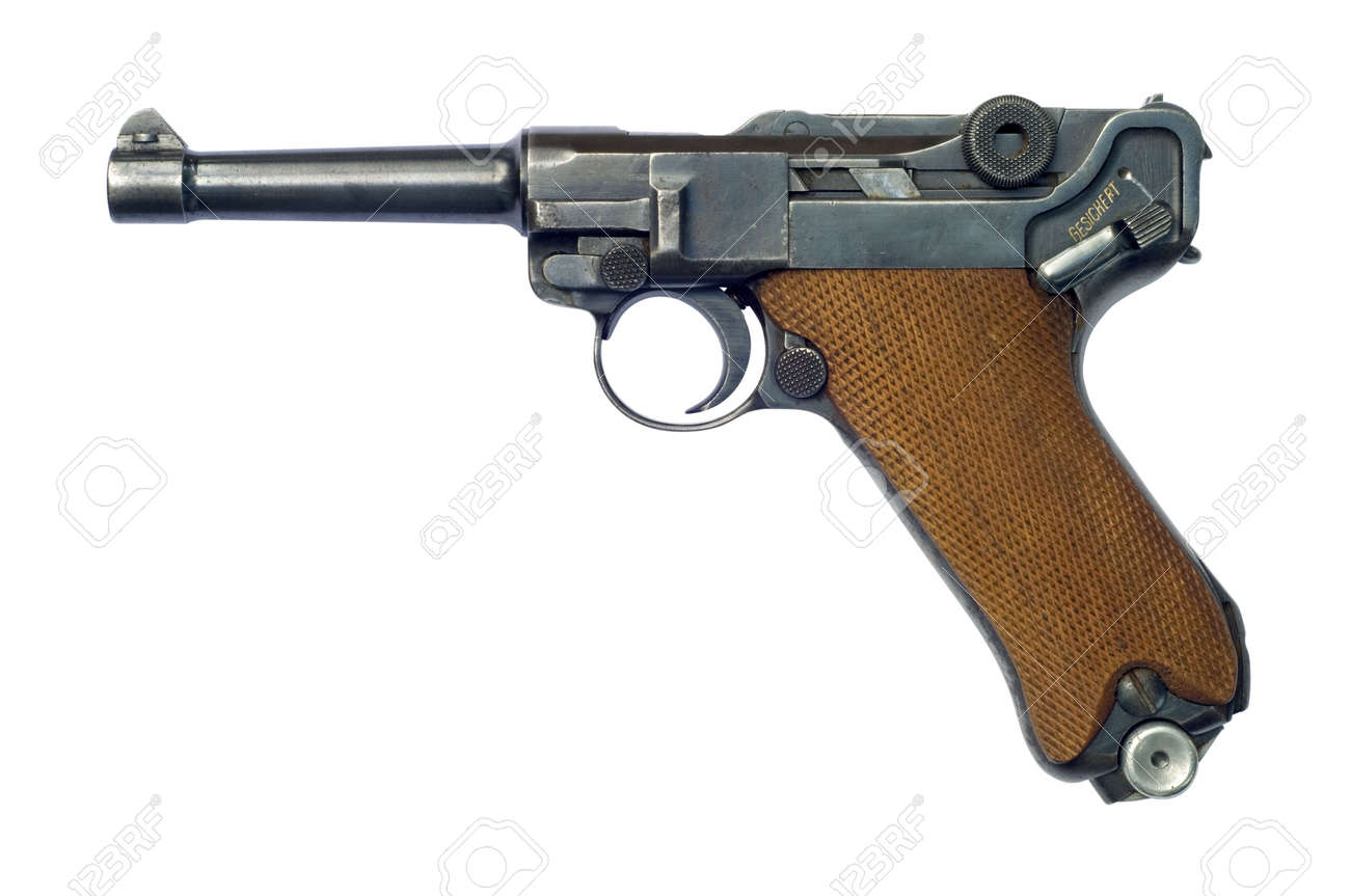 A German (Pistole Parabellum 1908) Luger P08 pistol with the safety catch on. The Luger was made popular by its use by Germany during World War I and World War II. Stock Photo - 7002784