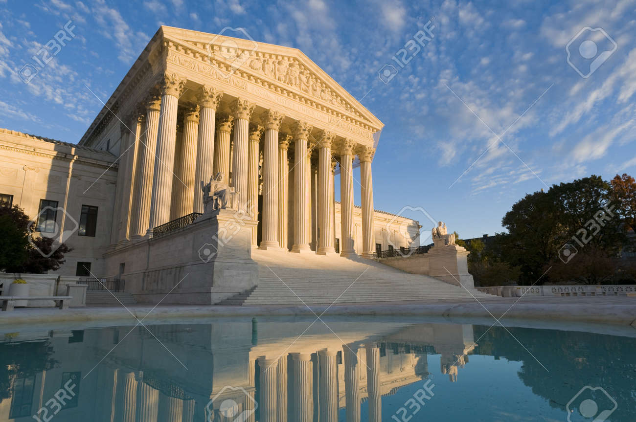 The front of the US Supreme Court in Washington, DC, at dusk. Stock Photo - 8345487