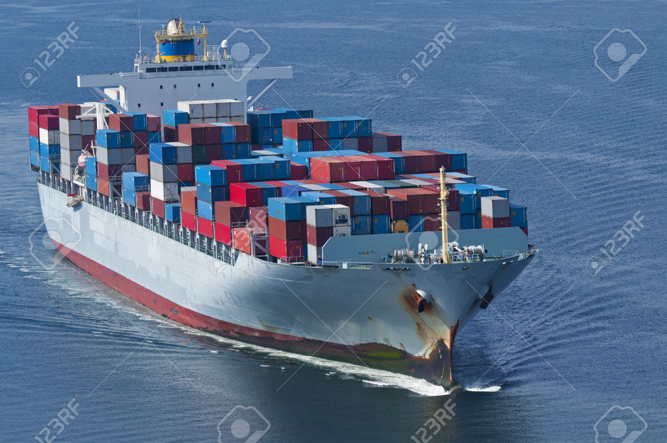 An aerial view of a container ship. Stock Photo - 10750163