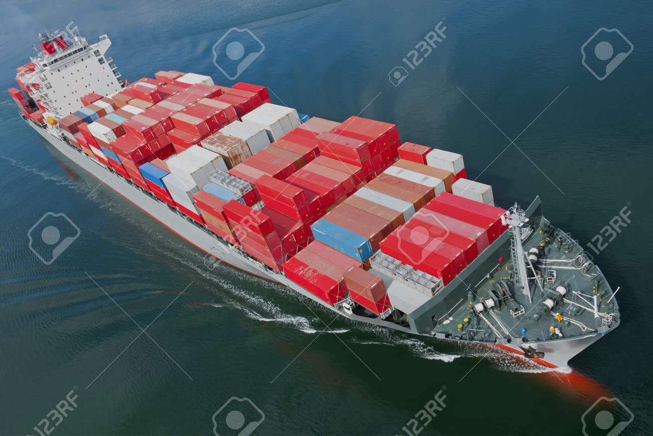 An aerial view of a container ship. Stock Photo - 12943043