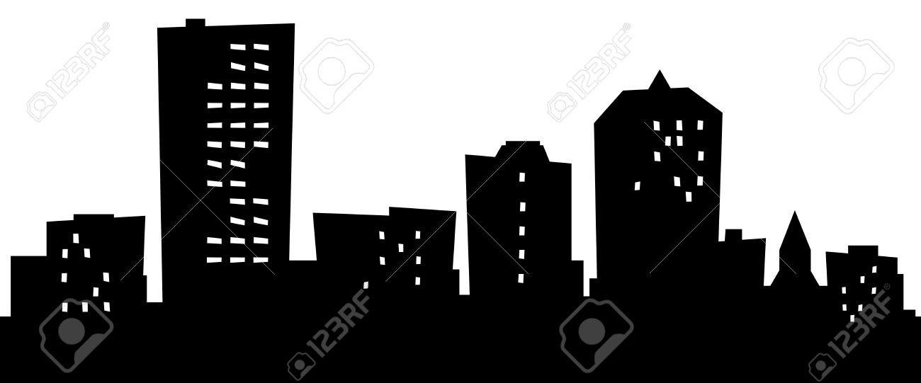 Cartoon City Skyline Cartoon Skyline Silhouette of