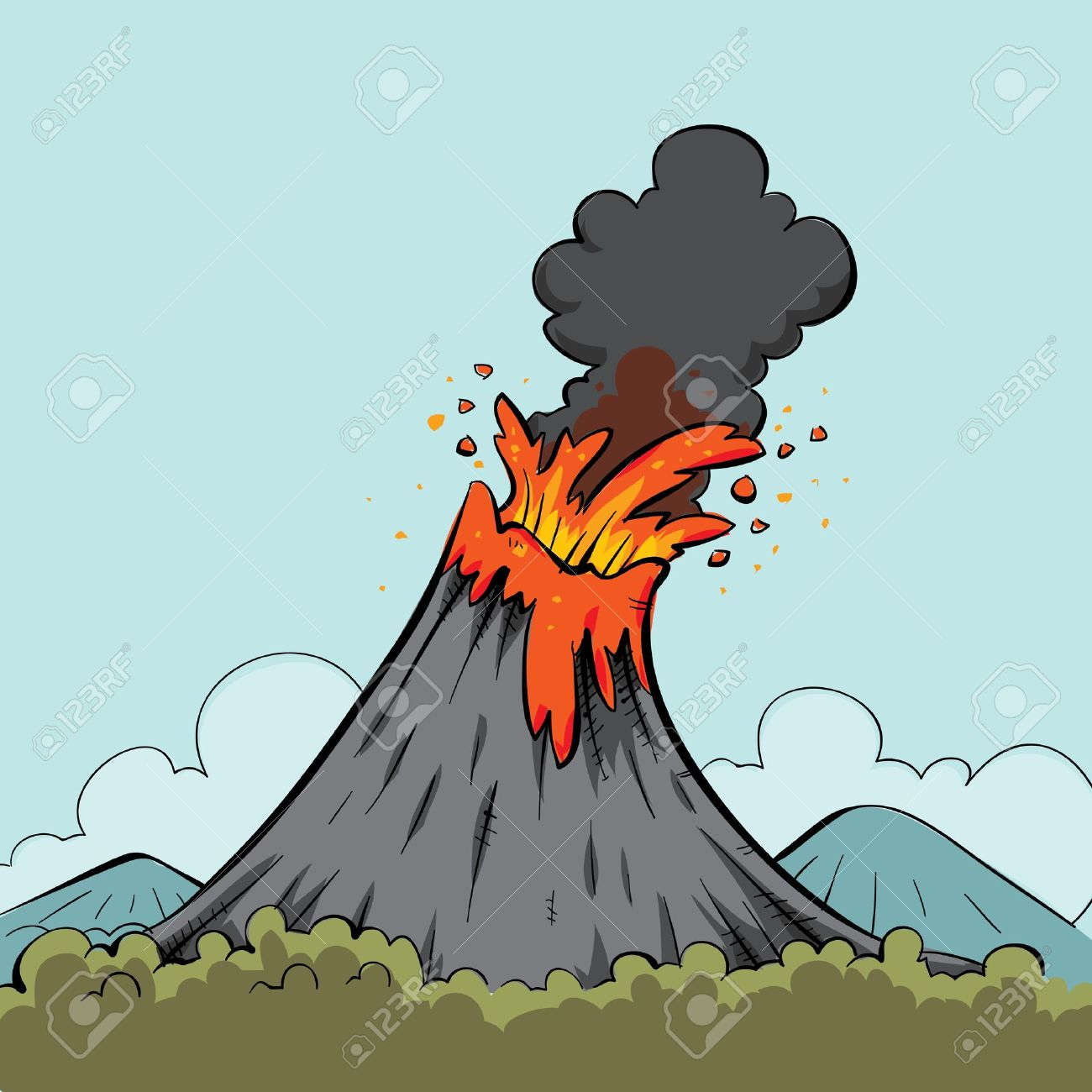Lava spews from the mouth of a cartoon volcano. Stock Photo - 12050395