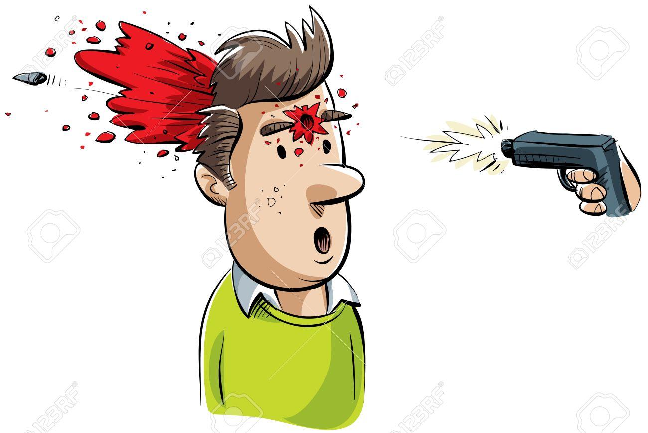 a cartoon man is shot in the head by a gun stock photo picture and rh 123rf com cartoon pic gun to head cartoon gun to head image