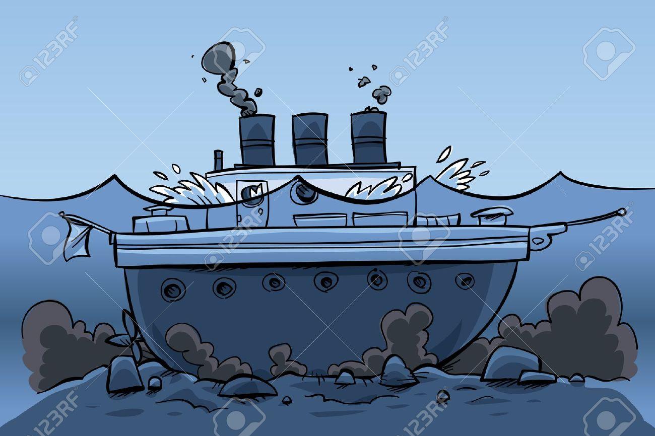 Un Navire Dessin Animé Assis Au Fond De La Mer Banque D Images Et