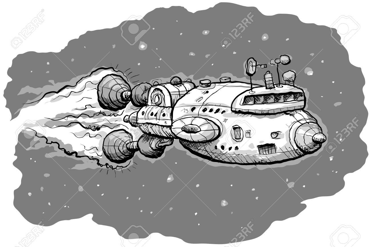 Dessin Vaisseau Spatial un vaisseau spatial de dessin animé voyager dans l'espace extra