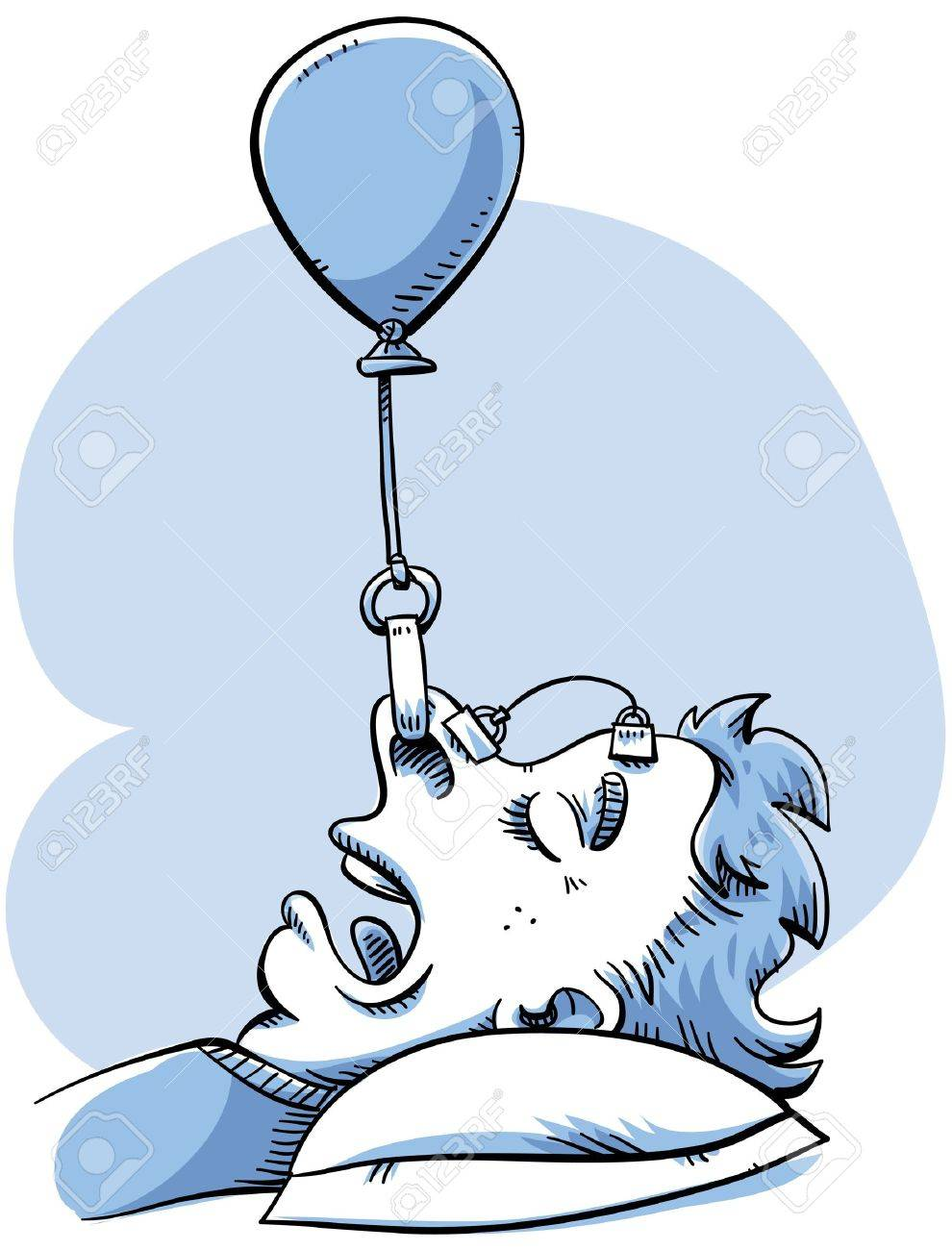 A woman rigs a balloon device to help her stop snoring. Stock Photo - 16976873