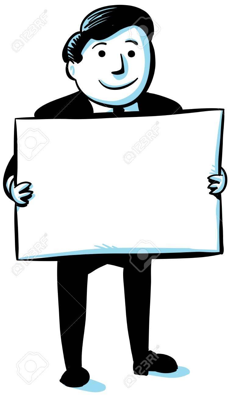 A cartoon businessman holding a blank sign Stock Photo - 17097751