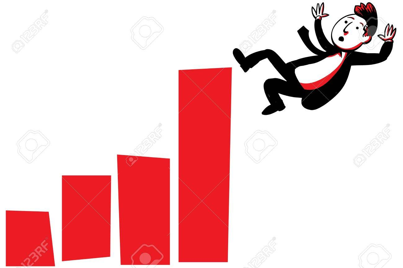 A cartoon businessman falls from the top of a rising graph Stock Photo - 17097745