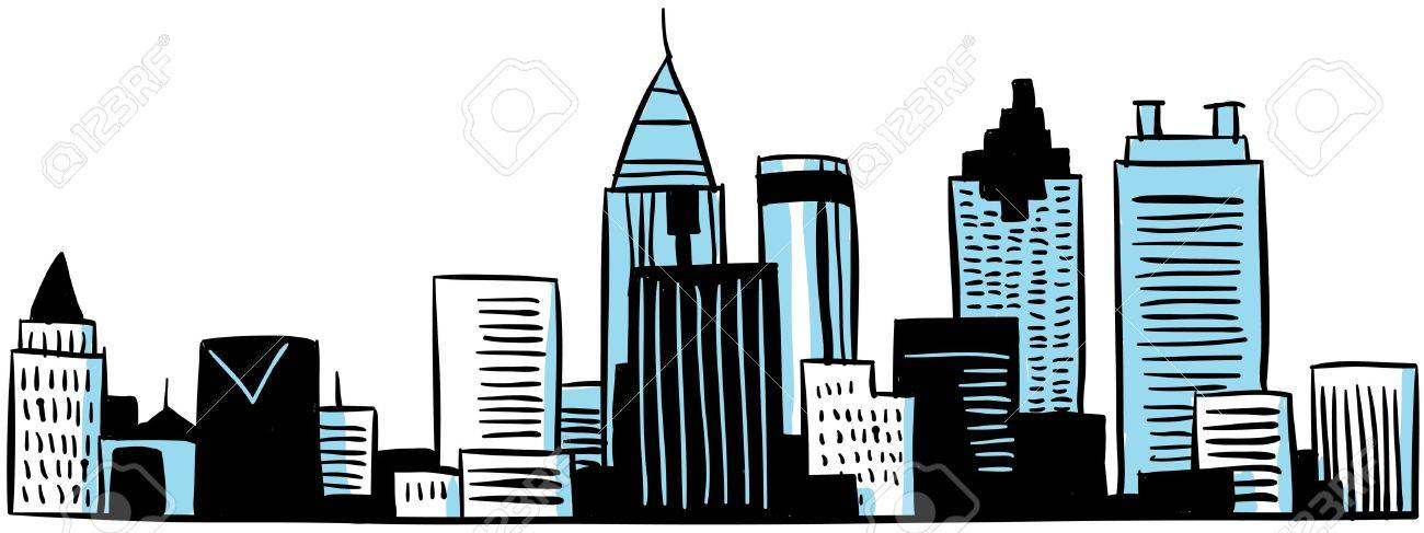 A cartoon skyline of the city of Atlanta, Georgia, USA Stock Photo - 18300890