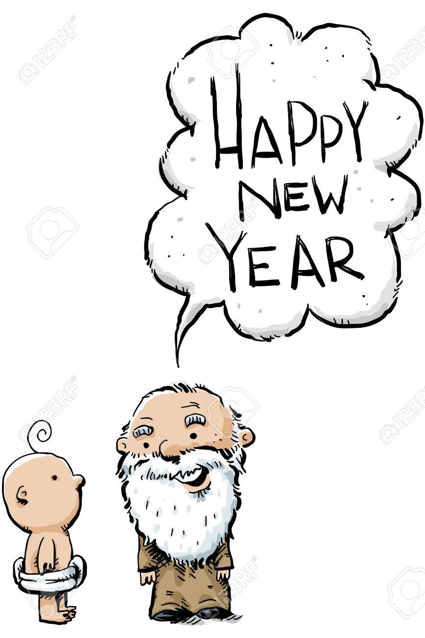 Eine Karikatur Weise Alte Jahr Grüßt Das Neue Jahr Baby Lizenzfreie ...
