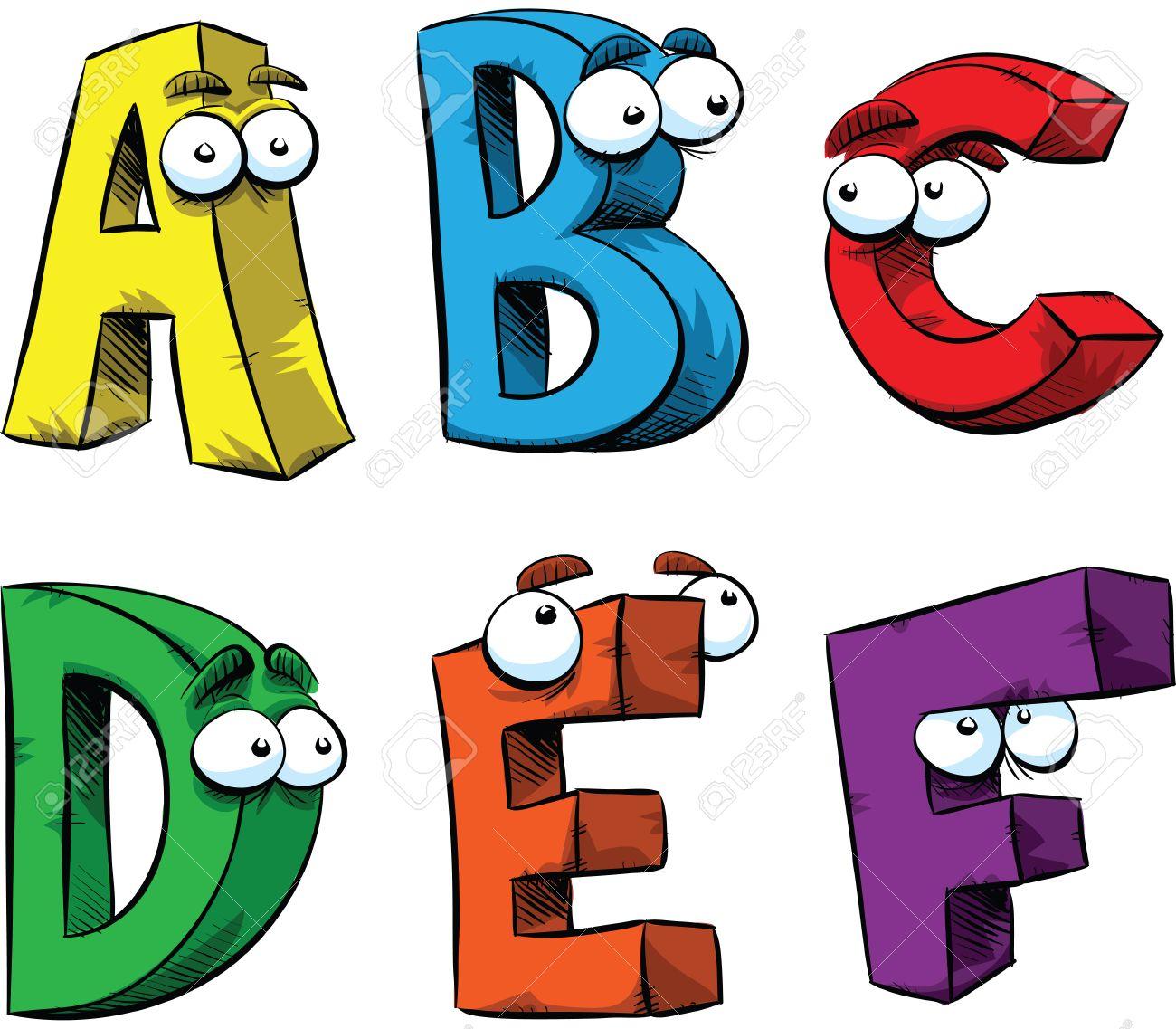 Lettres Af De L Alphabet Personnages De Dessins Animés Sympathiques
