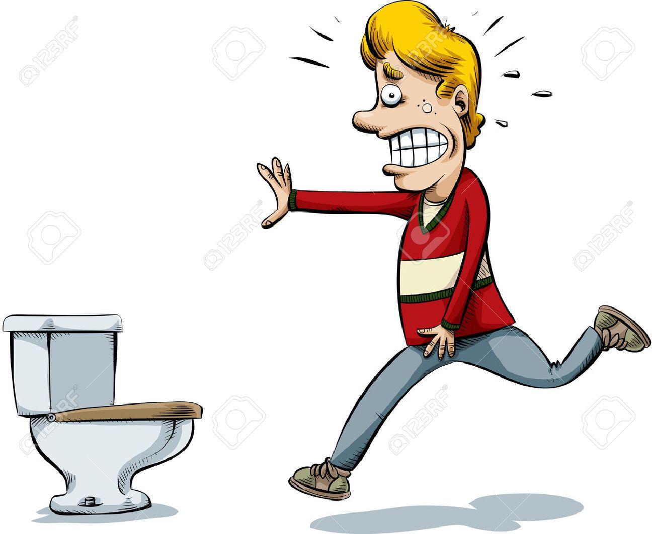 Ein Cartoon Mann Läuft Auf Die Toilette Um Zu Pinkeln Lizenzfrei
