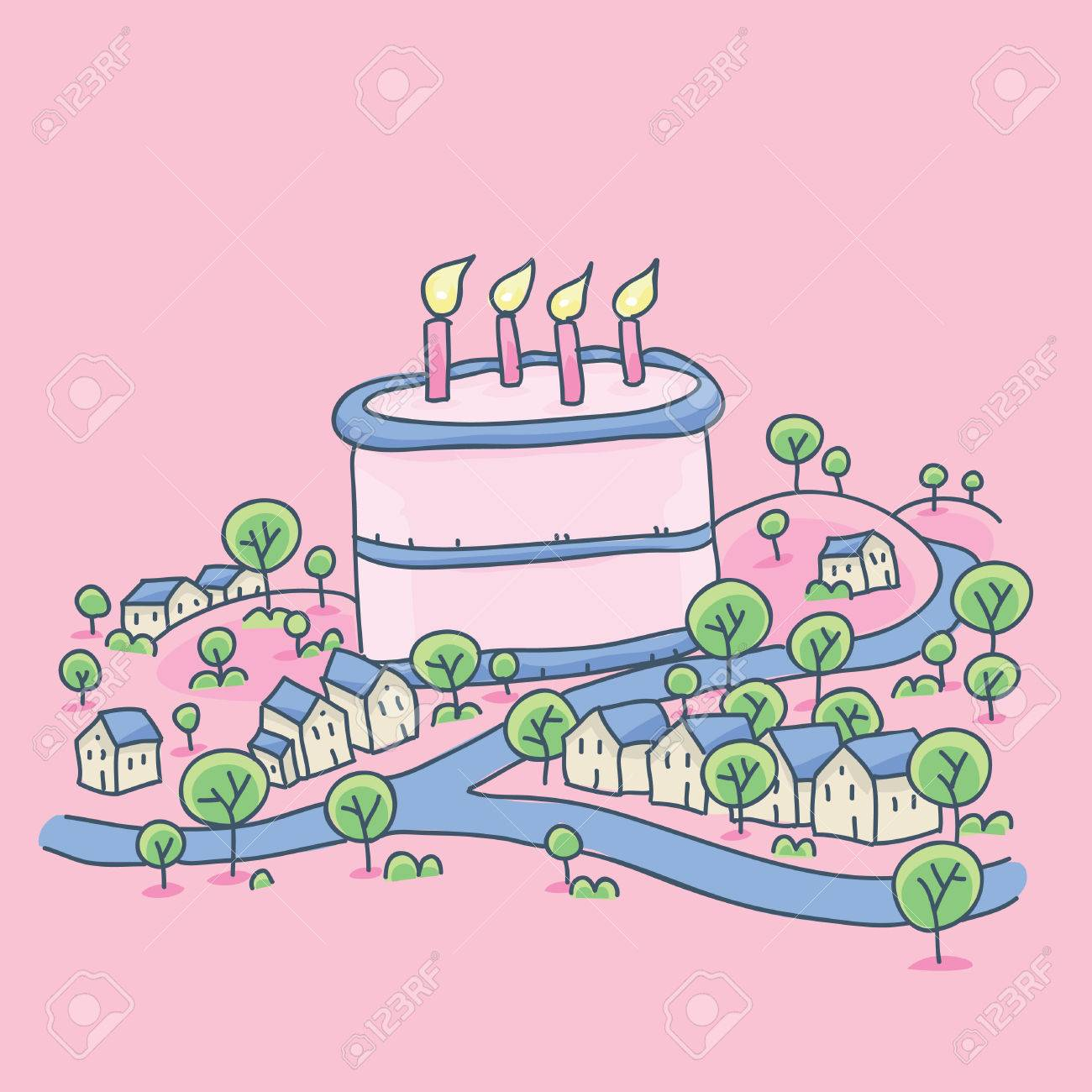 Superb A Small Cartoon Town With A Giant Birthday Cake In The Middle Birthday Cards Printable Benkemecafe Filternl