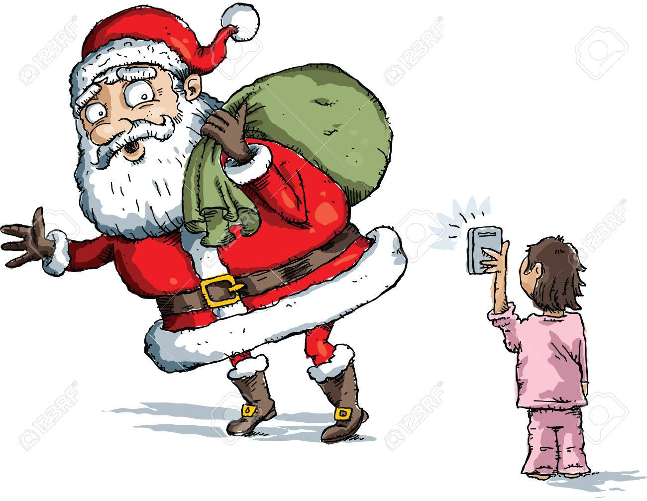 a little cartoon girl catches santa claus in a snapshot on her mobile phone stock