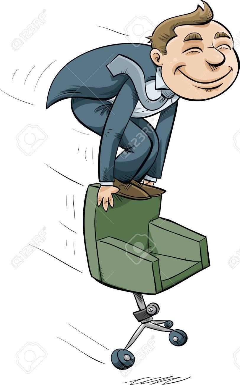 Un Homme Daffaires De Dessin Anim Cheval Sur Une Chaise