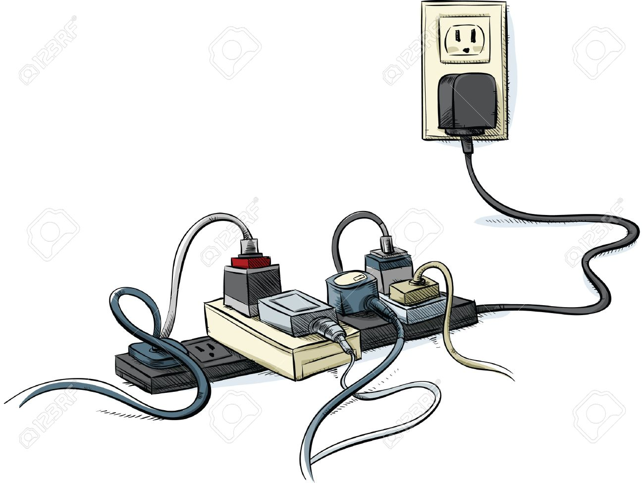 Cartoon Power Cords And Bars Combined In A Tangle. Stock Photo ...