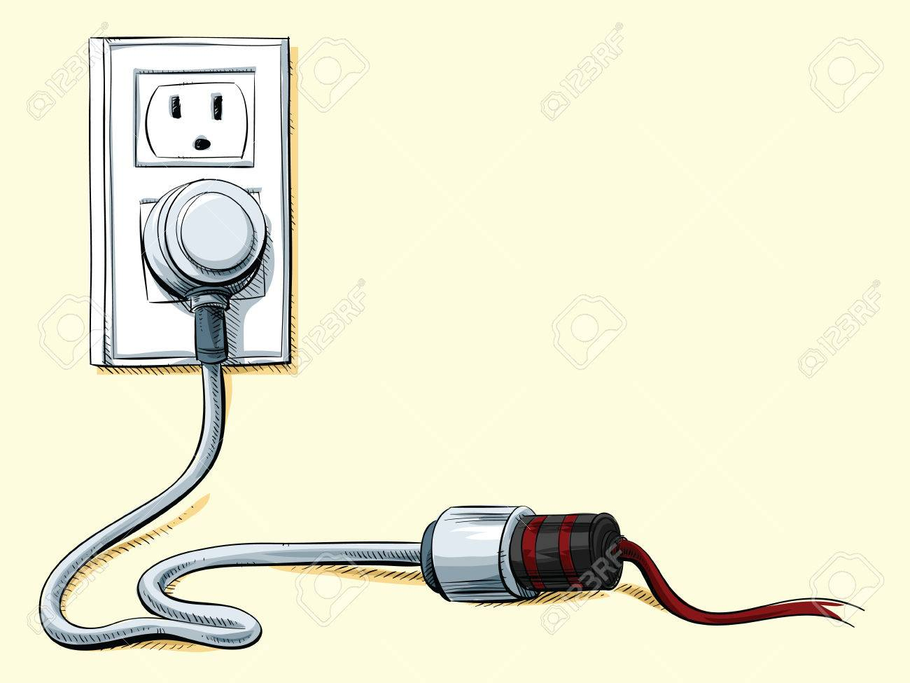 Cartoon Power Cord Plugged Into An Extension And A Wall Socket ...