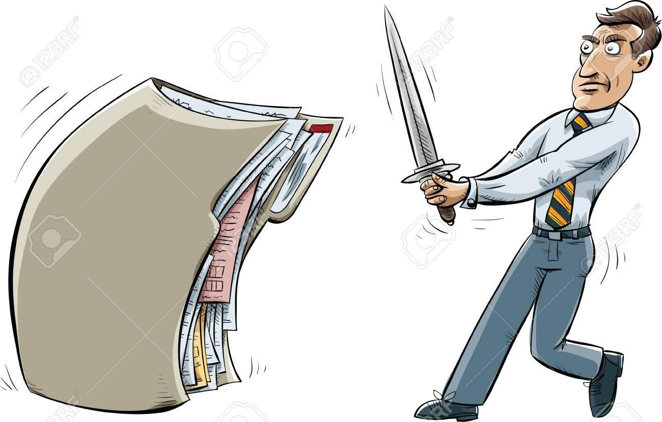 漫画のビジネスマン大剣を保持しファイル フォルダーに直面しています