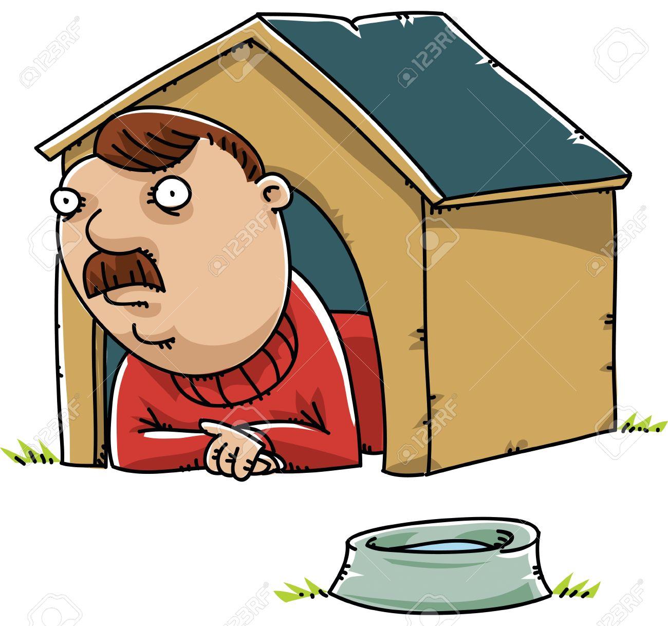 A cartoon man lying inside a doghouse. Stock Vector - 29156689