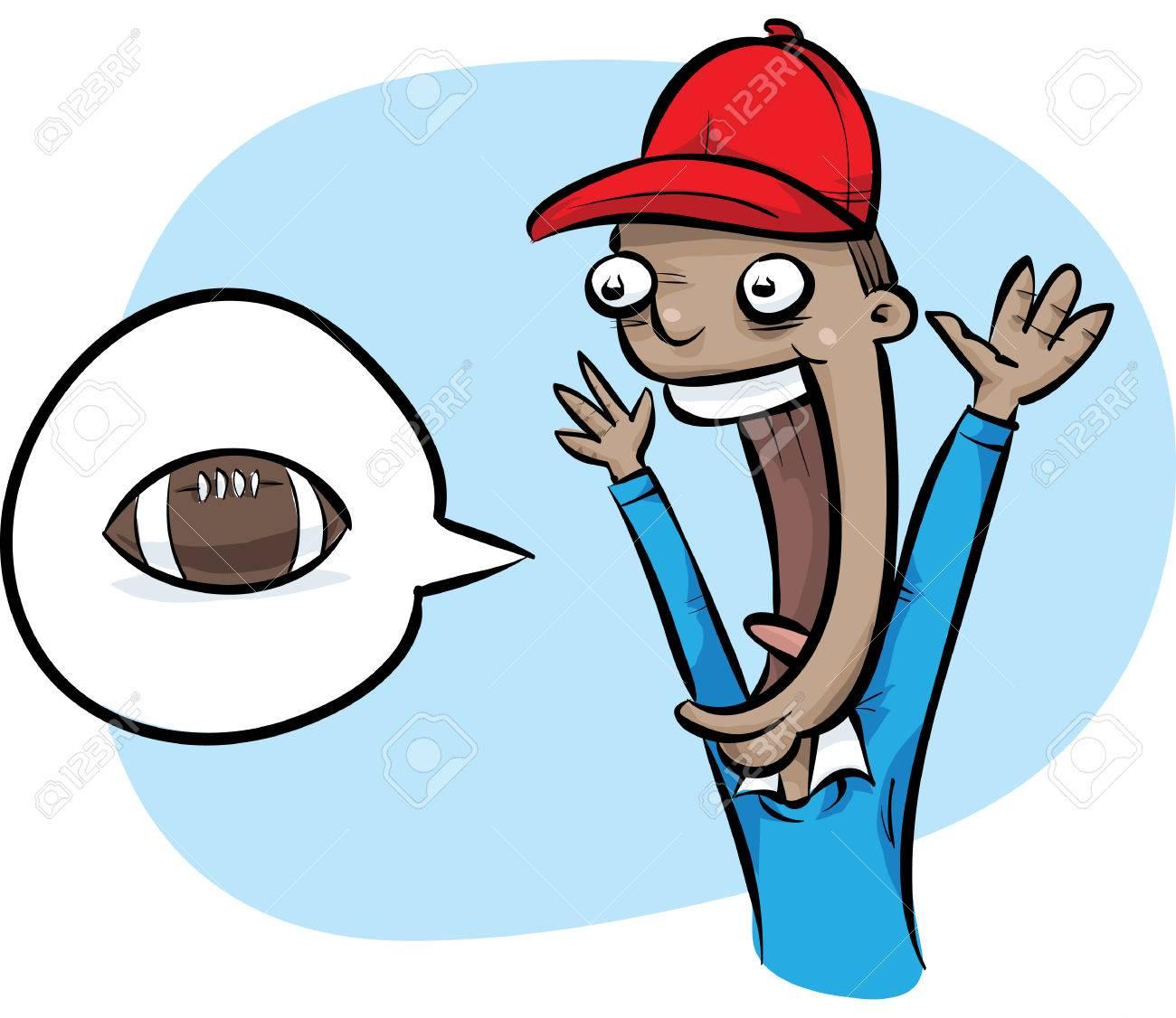 football fan clipart. a cartoon football fan cheering for his team. stock vector - 29156837 clipart