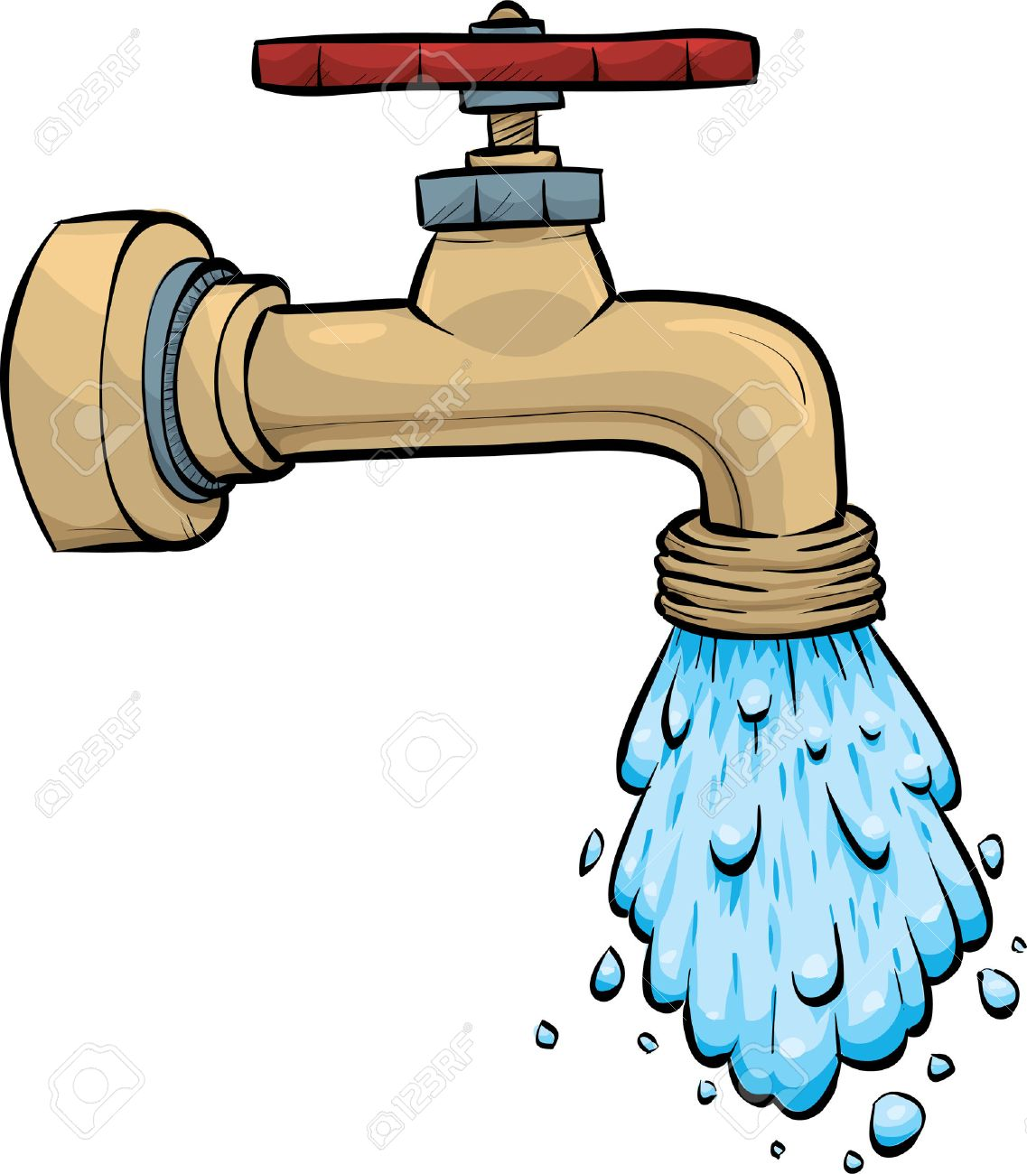 Water Pours From A Cartoon Metal Faucet. Royalty Free Cliparts ...