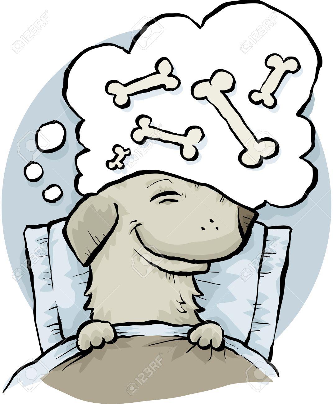 Ein Comic Hund Traumt Von Knochen Wenn Schlafend Im Bett
