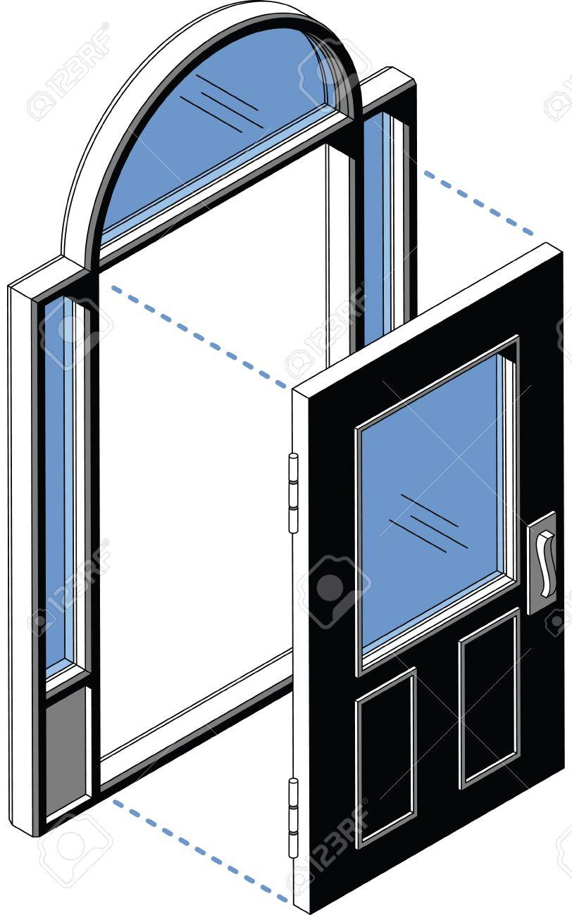 isometric diagram of a door and door frame with windows  stock vector -  29157130