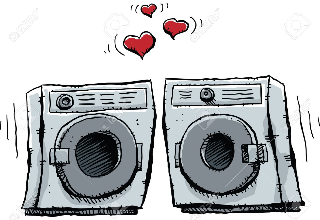 Washer And Dryer Clipart a cartoon frontloading washer and dryer fall in lover. royalty