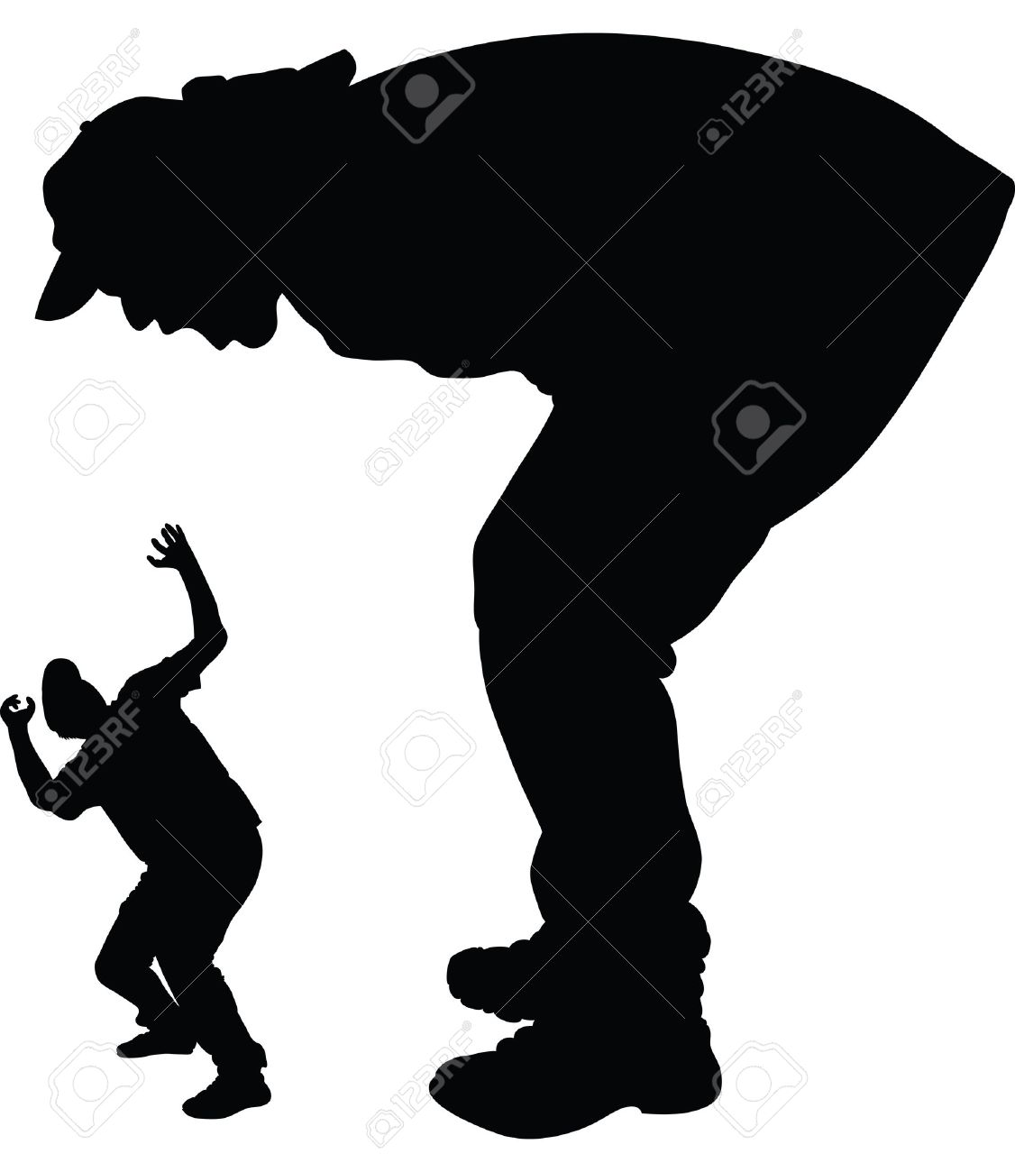 a silhouette of a giant man shouting and scaring a smaller man