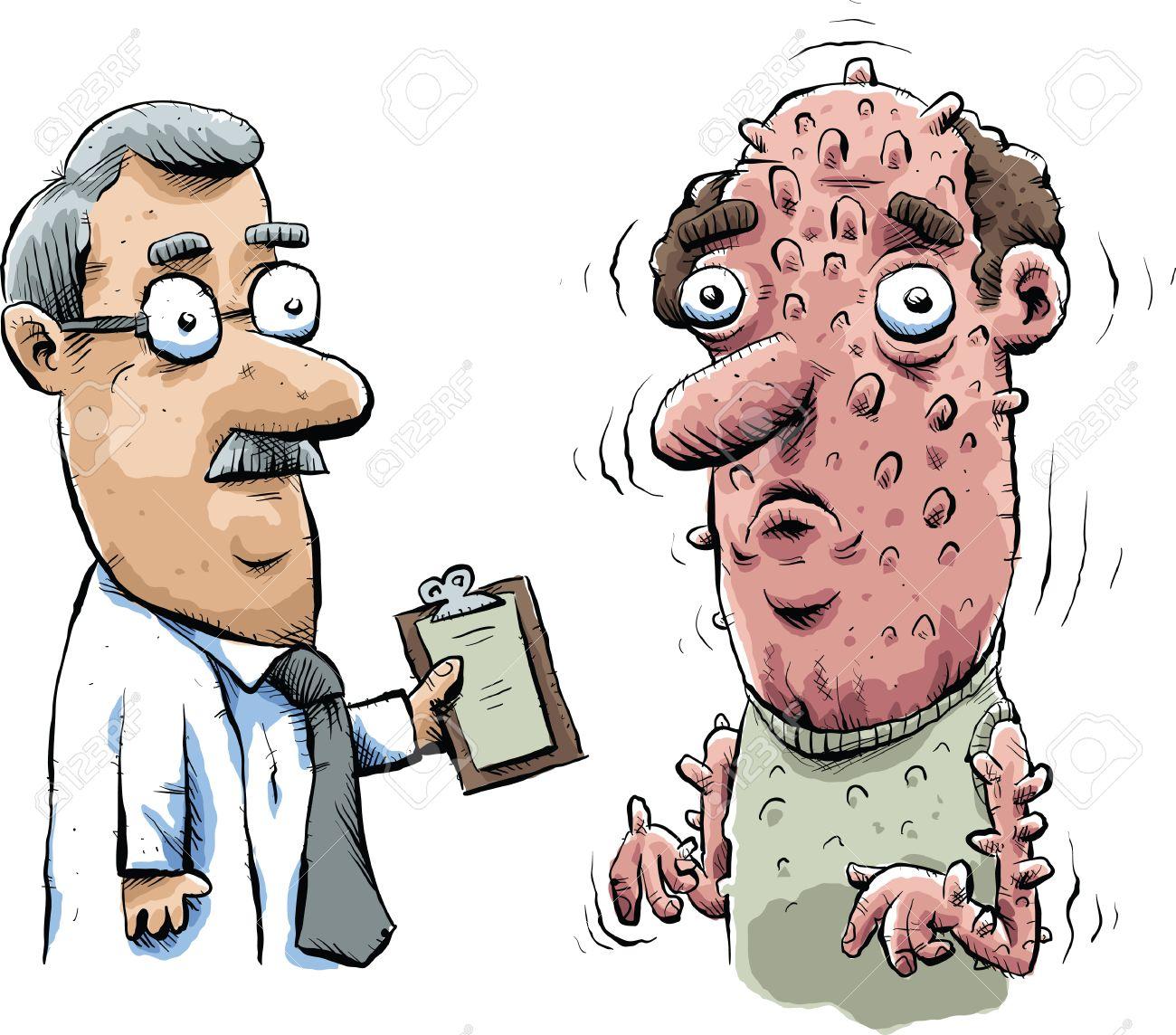 un mdico examina a un hombre de dibujos animados con un brote extremo de las colmenas