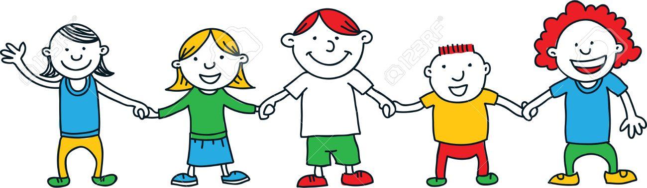Un Conjunto De Dibujos Animados De Los Niños Simples Dibujos ...