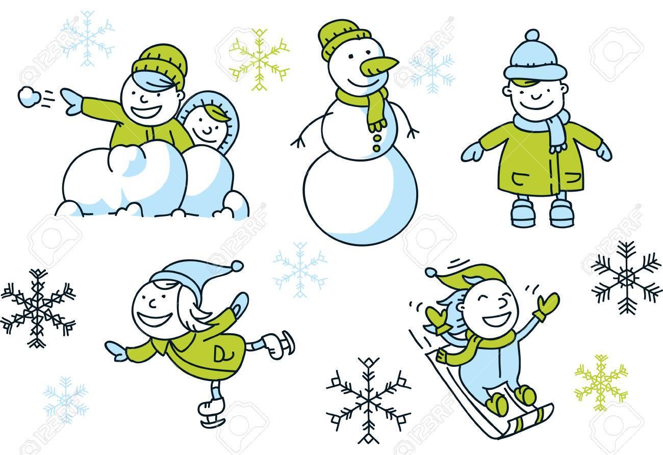 冬の楽しみを持つ簡単な漫画の子供たちの漫画セットのイラスト素材