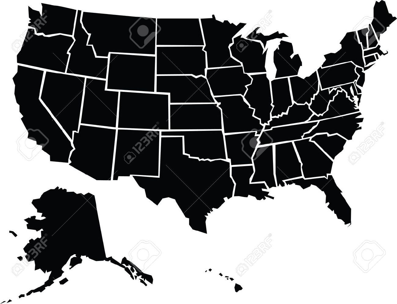A Chunky Cartoon Map Of The USA Including Alaska And Hawaii - The united states hawaii alaska map