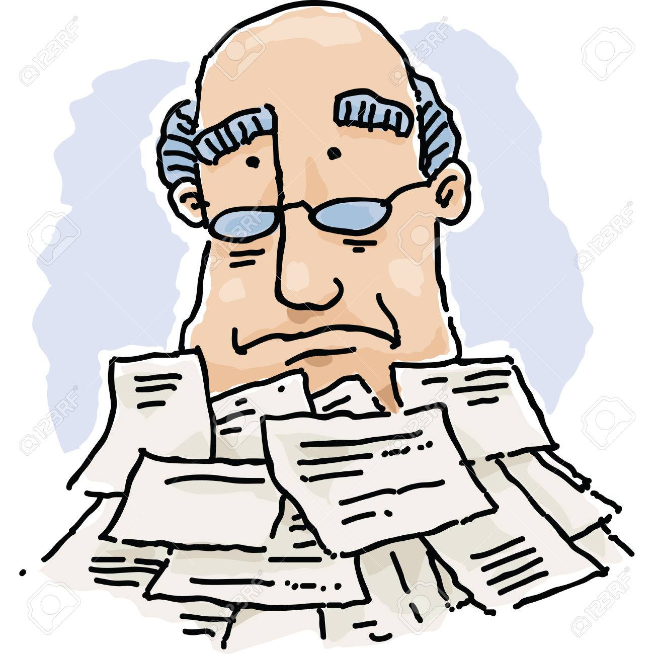 a cartoon man buried under a pile of paperwork. royalty free