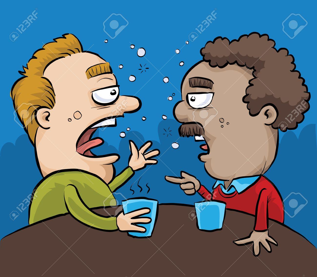 Two drunk cartoon men have a conversation in a pub. - 29636470