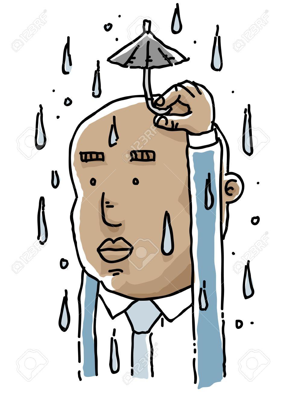 A cartoon businessman holding a tiny umbrella to protect himself