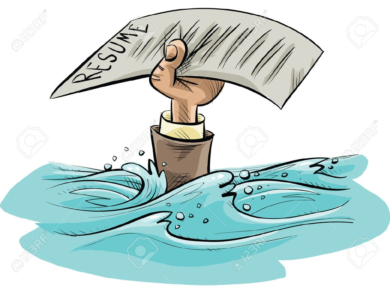 The Cartoon Hand Of A Drowning Person Holds Up A Resume As A
