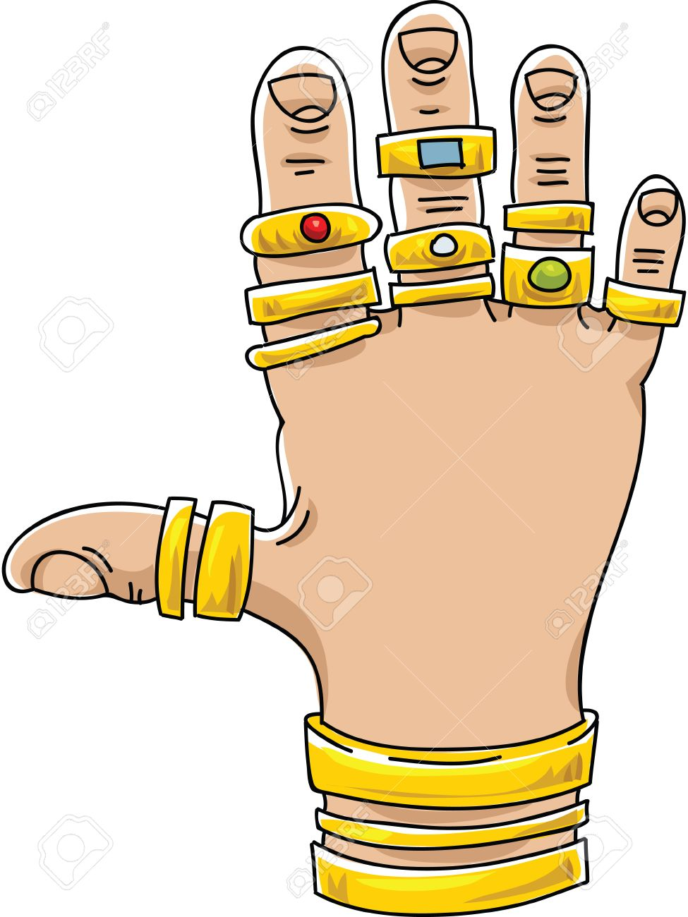 a cartoon hand covered with gold rings and bracelets royalty free