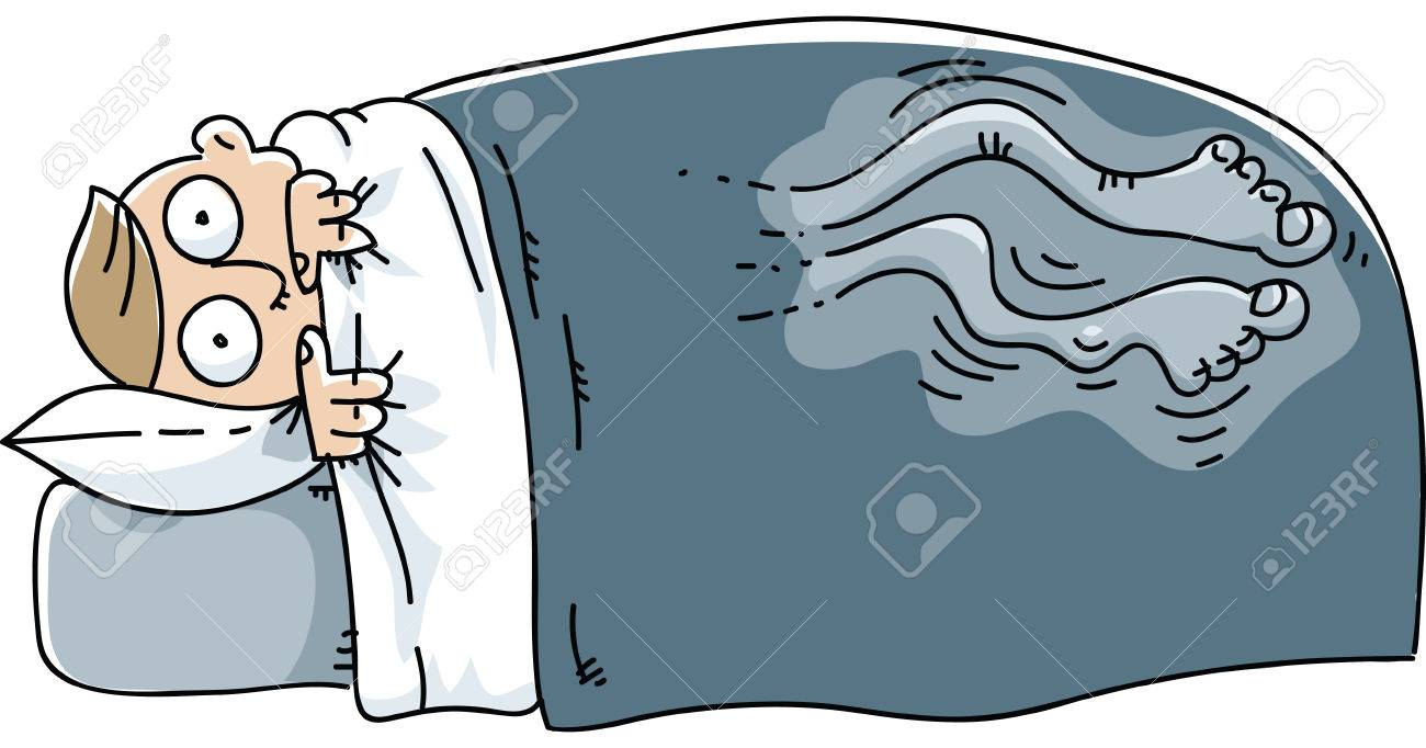 A man wakes and struggles with Restless Leg Syndrome. - 29636950