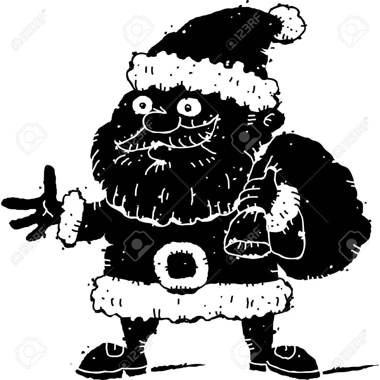 Bande Dessinée En Noir Et Blanc De Père Noël