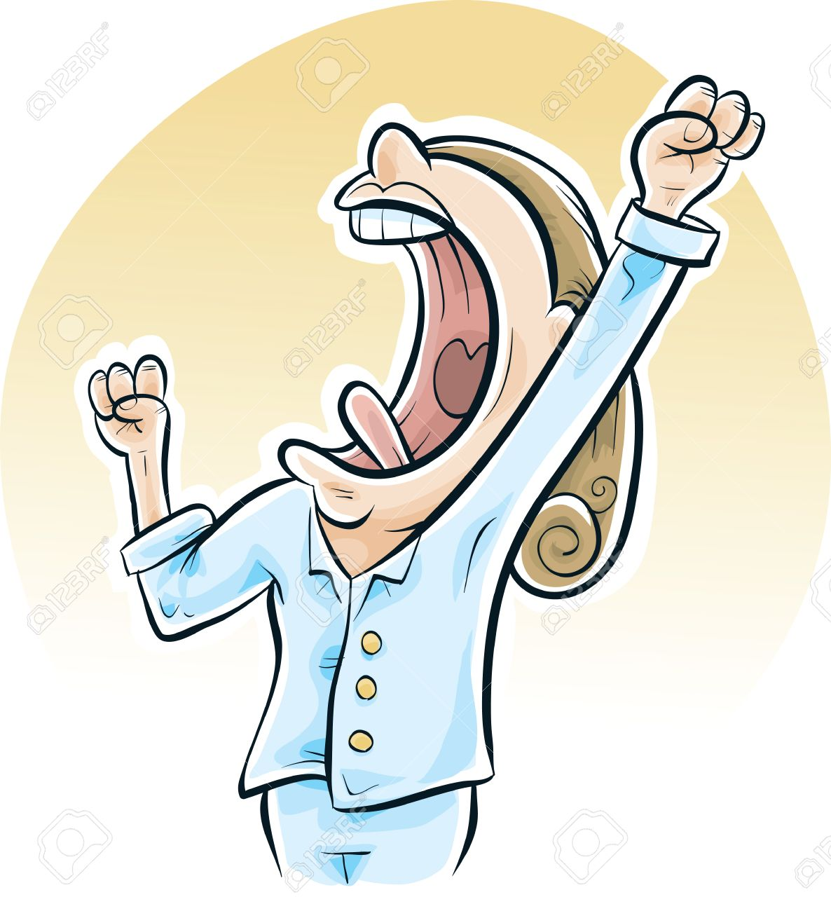 A Cartoon Woman Has A Big Yawn In The Morning As She Wakes Up ... for Clipart Yawn  67qdu