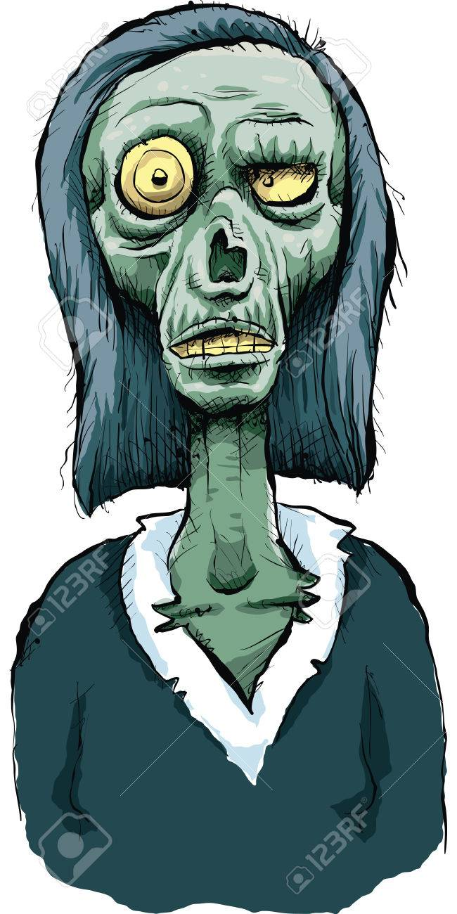 A cartoon zombie woman with a bulging eyeball royalty free
