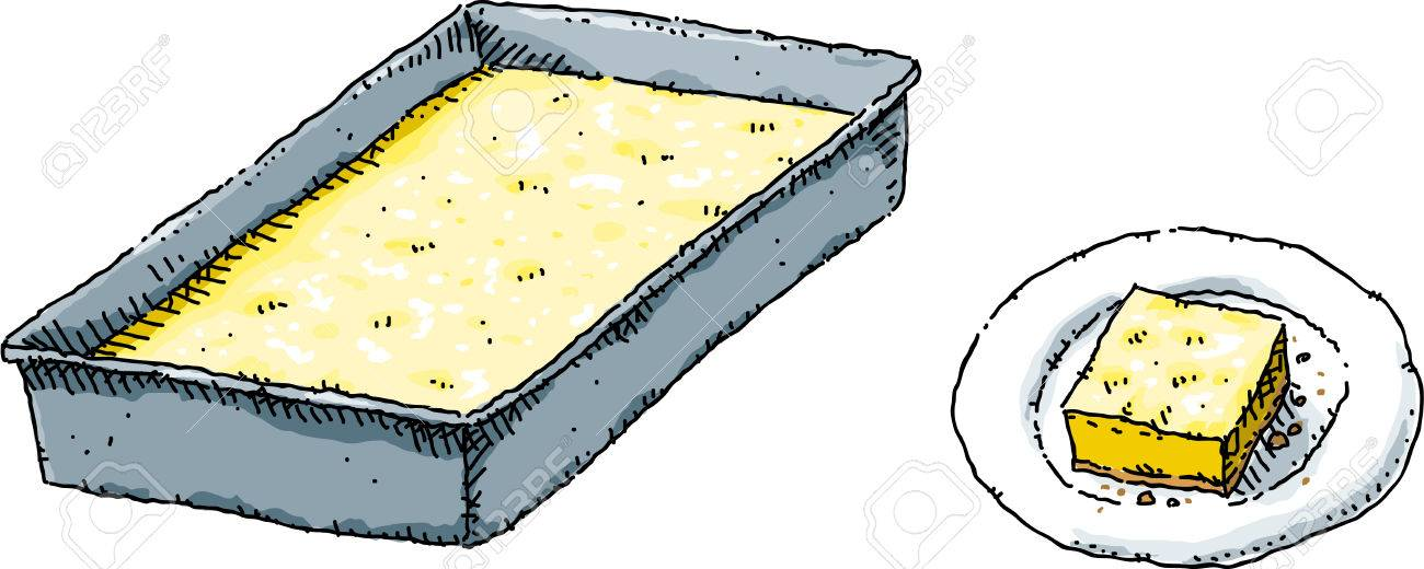 a cartoon pan of baked lemon squares and a single square on a rh 123rf com Tongue Clip Art Oven Baking Pans