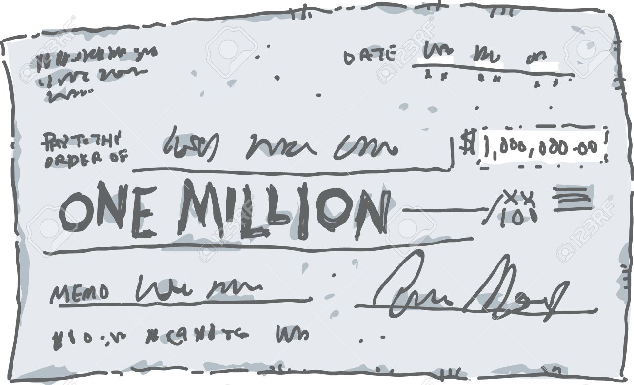 a cartoon check filled out in the amount of one million dollars