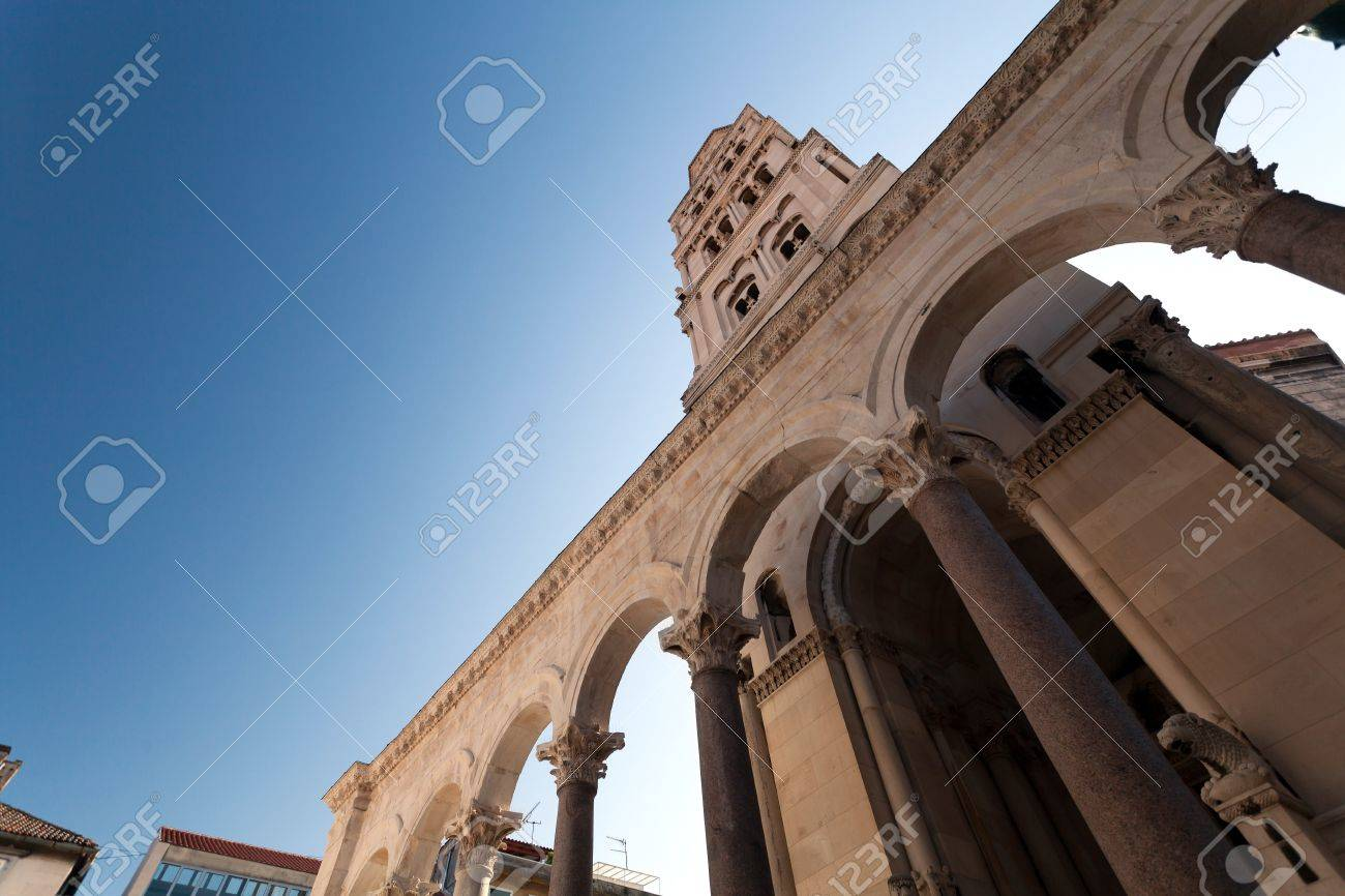 Diocletian palace ruins and cathedral bell tower, Split, Croatia  Stock Photo - 12790024