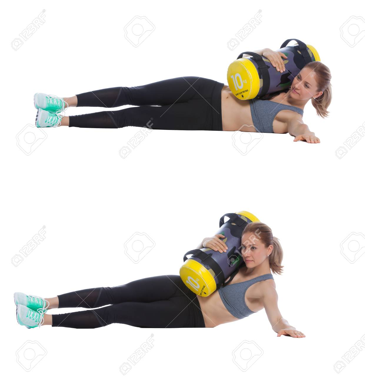 21cccfc0264d Core bag exercise executed with a professional trainer. Stock Photo -  74448905