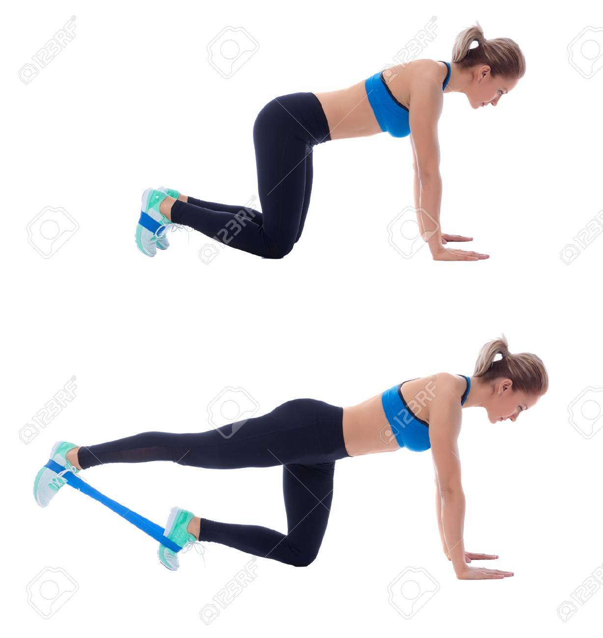 Elastic Band Exercises Executed With A Professional Trainer Stock