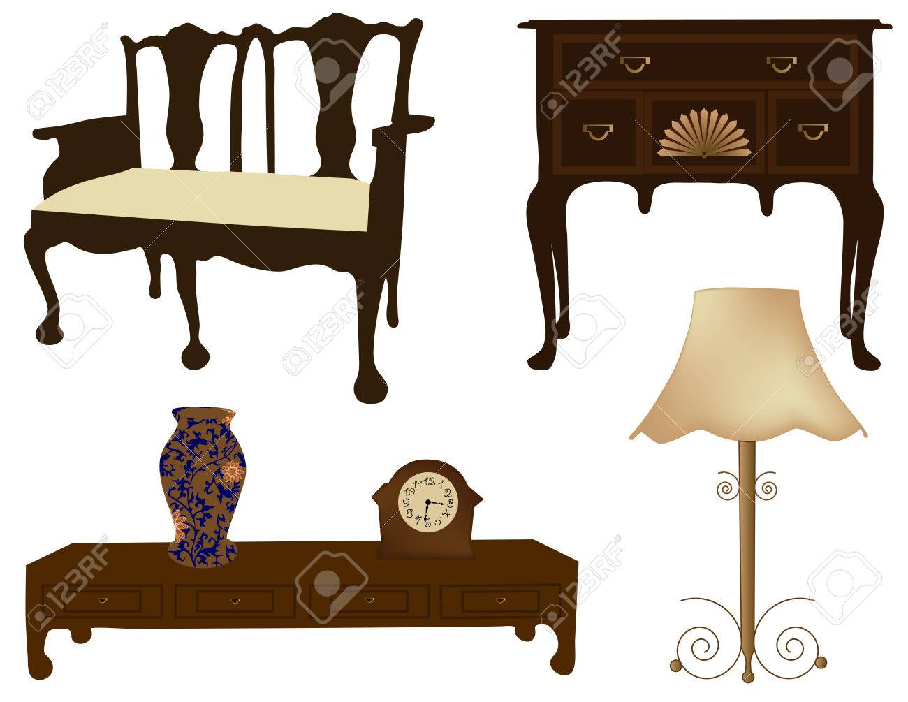 Silhouettes of different retro furniture Stock Vector - 25057388