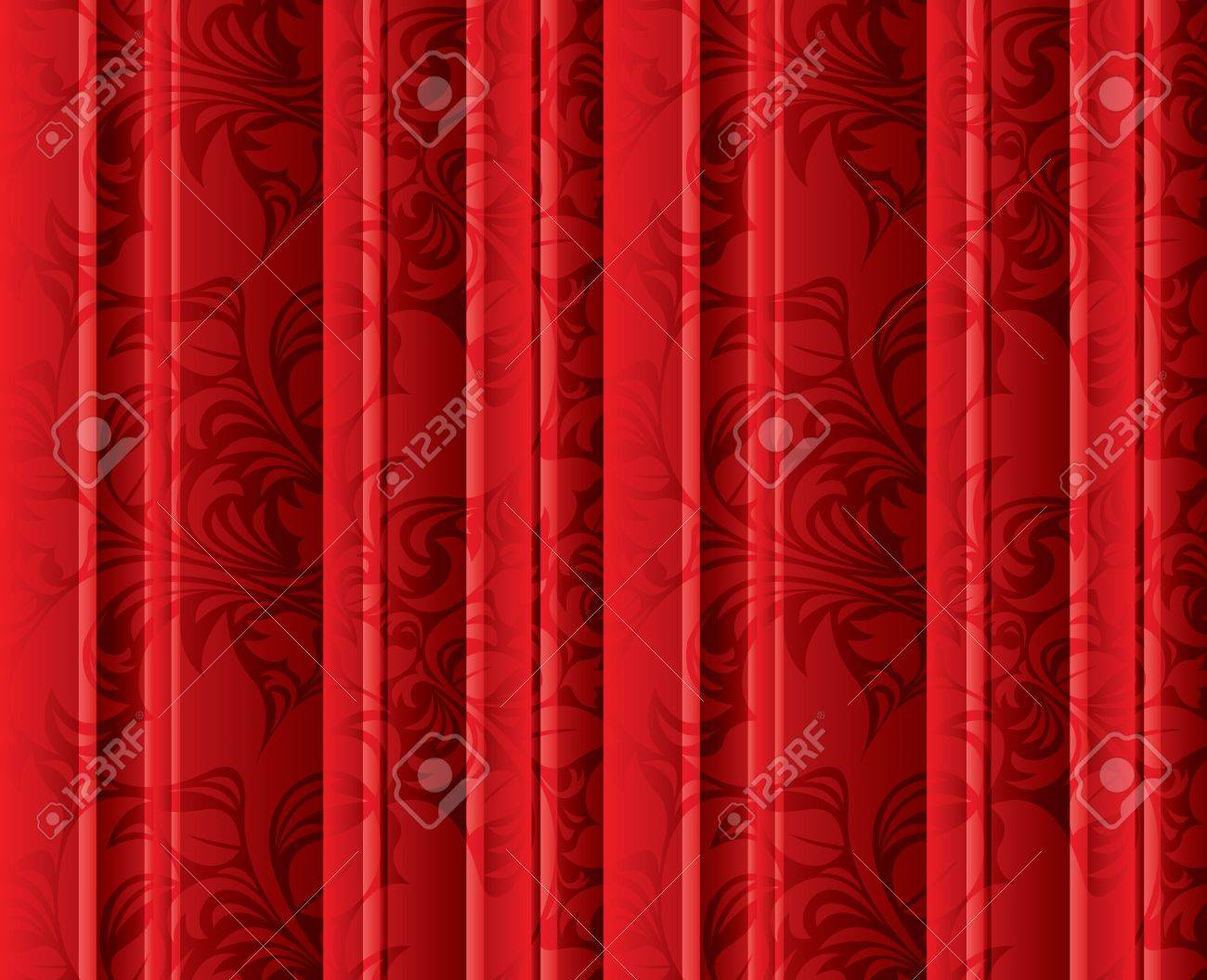 Curtains texture - Seamless Floral Texture On The Red Volumetric Curtains Background Vintage Floral Texture