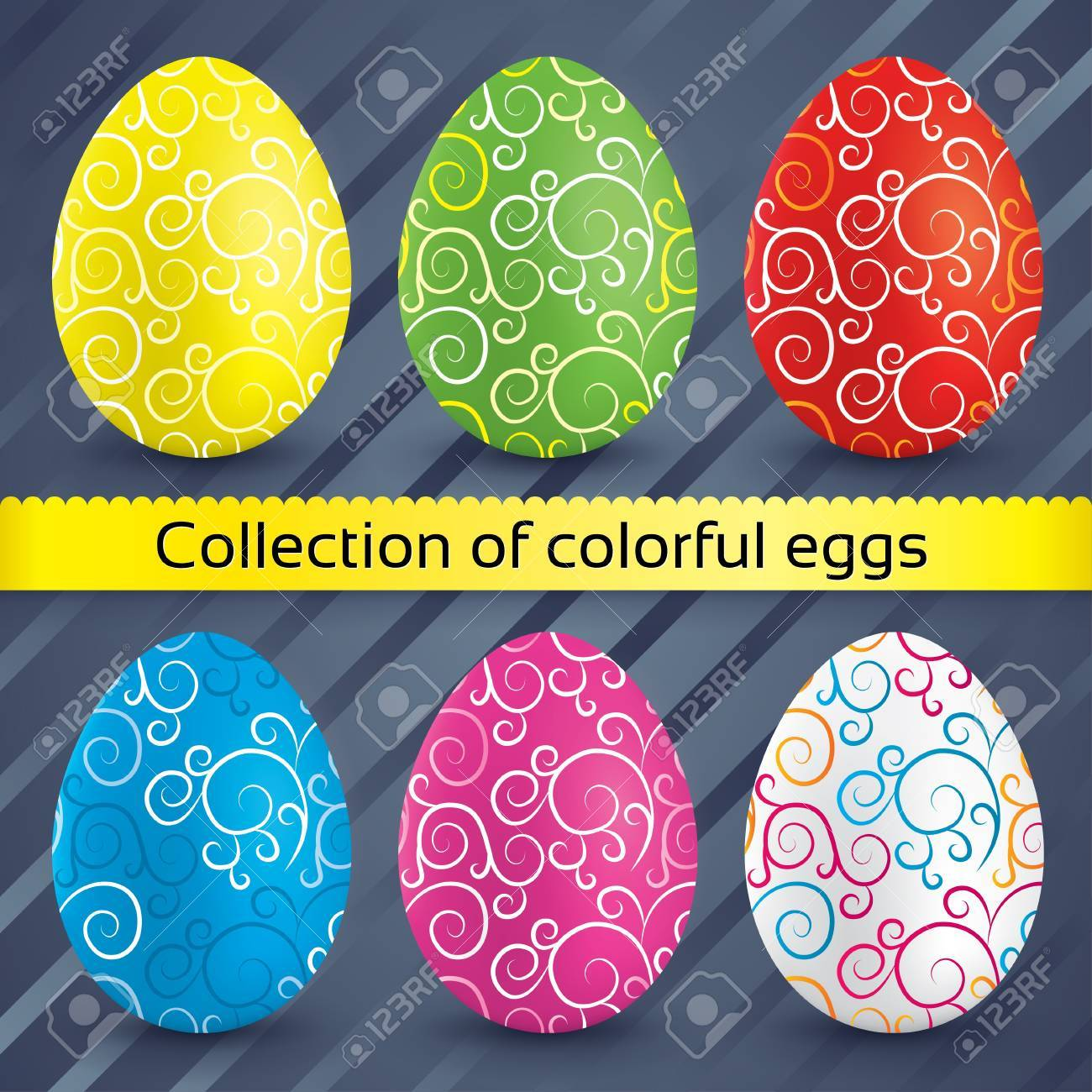 Happy easter colorful textured eggs (collection). Vector set of painted eggs (decoration). Striped eggs (icons). Stock Vector - 18534453
